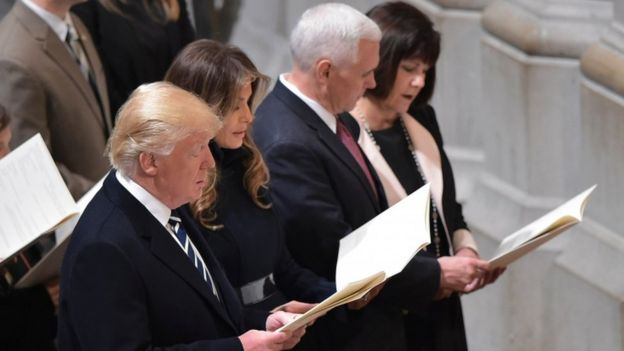 Donald Trump attends a multi-faith service in Washington, 21 Jan
