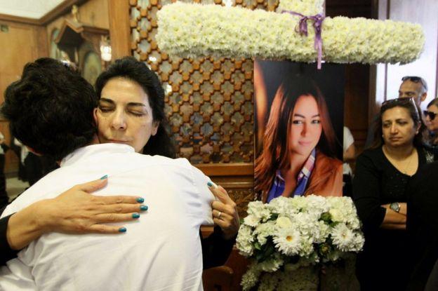 Relatives and friends of Yara Hani at a church in Cairo, 21 May