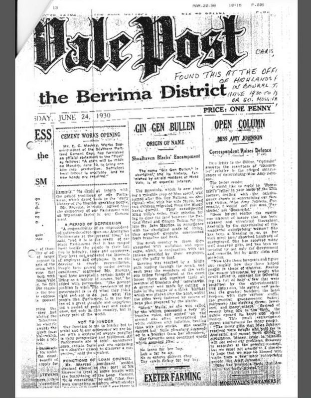 The Moss Vale Post clipping from 1930 that includes the story of Black Maria and the lullaby