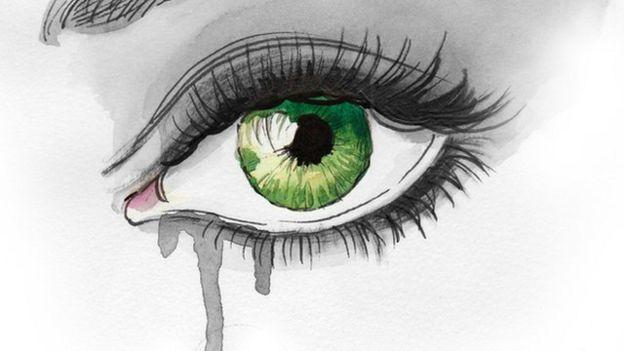 Dibujo de persona llorando.