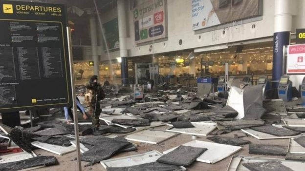 Picture taken with permission from the Facebook site of Jef Versele showing the aftermath of this morning's explosions at Brussels airport, 22 March