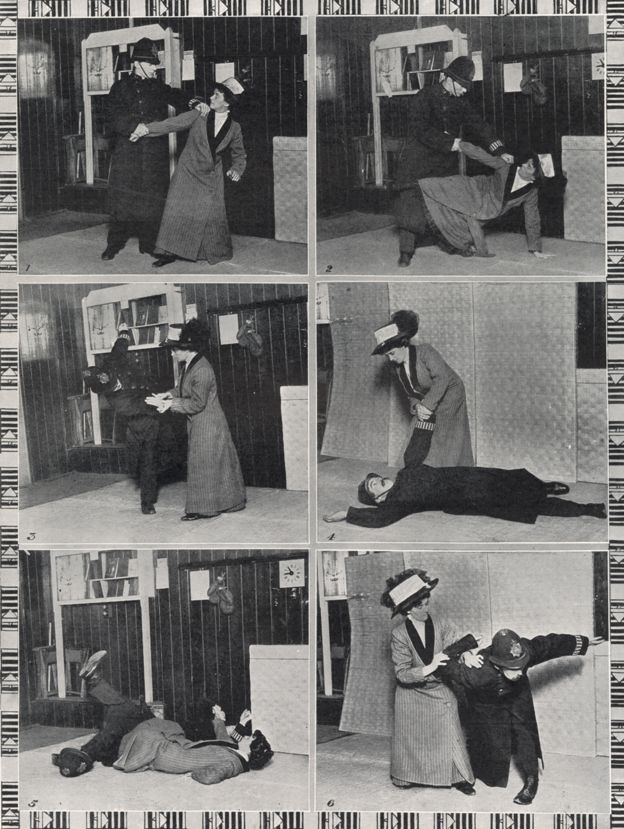 Demonstration of ju jitsu for suffragettes