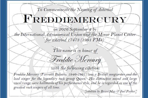 Un asteroide, el regalo para Freddie Mercury en su 70 cumpleaños