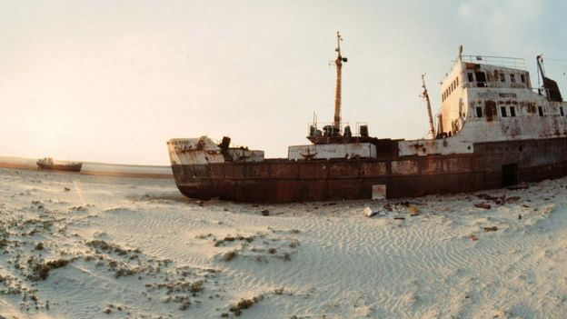 Abandoned ship in dried-up area of the Aral Sea in Kazakhstan