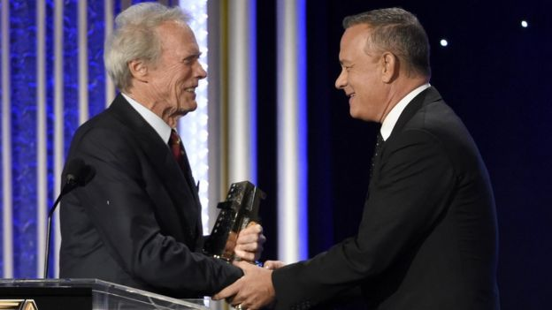 Clint Eastwood and Tom Hanks at Hollywood Film Awards