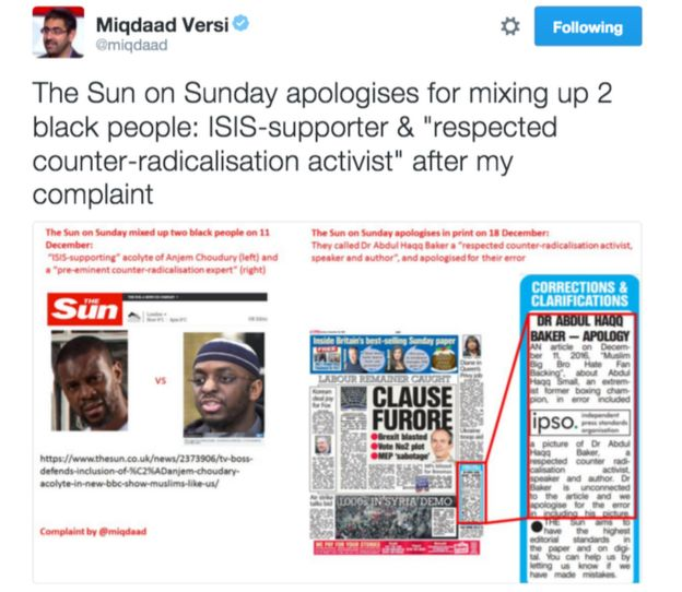 Tweet from Miqdaad Versi reading: 'The Sun on Sunday apologises for mixing up 2 black people: ISIS-supporter &