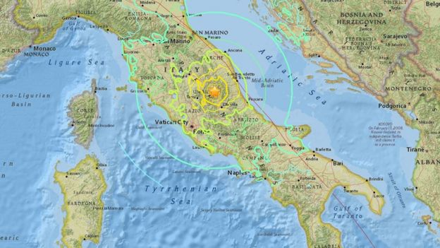 El sismo se pudo sentir en todo el centro de Italia.