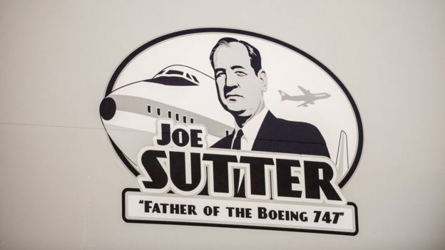 "A decal of the ""Father of the Boeing 747"", Joe Sutter"