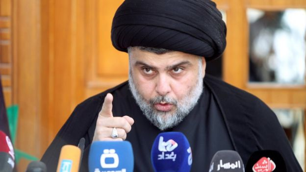 Iraqi Shia cleric Moqtada al-Sadr speaks during a news conference in Najaf, south of Baghdad, 30 April 2016