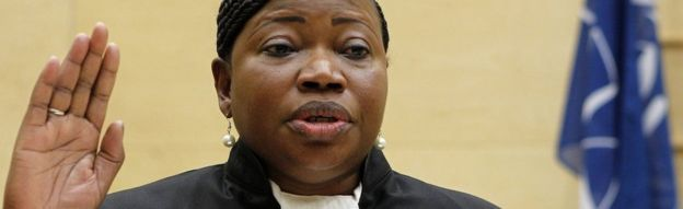 Gambian war crimes lawyer Fatou Bensouda takes the oath during a swearing-in ceremony as the International Criminal Court's new chief prosecutor in The Hague, on June 15, 2012.