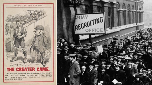 A cartoon encouraging footballers to join up, and queues at a London recruiting office in December 1914, when John Williams joined up