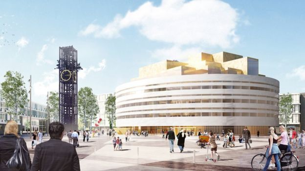 Ilustración del nuevo ayuntamiento de Kiruna