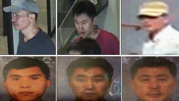 馬來西亞警方通緝的五名朝鮮籍嫌疑人中的三位。