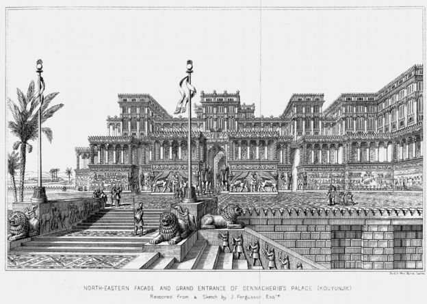 A drawing of Sennacherib's palace