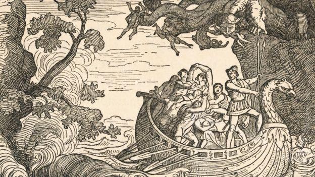 Hành trình của Odysseus phải vượt qua một cửa ải mà một bên là quái vật Scylla và một bên là hố nước xoáy Charybdis