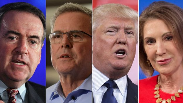 Mike Huckabee, Jeb Bush, Donald Trump, Carly Fiorina