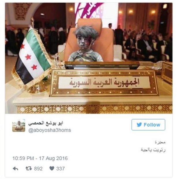 Doctored image showing injured Syrian boy sitting at empty seat of Syria at Arab League meeting (17 August 2016)