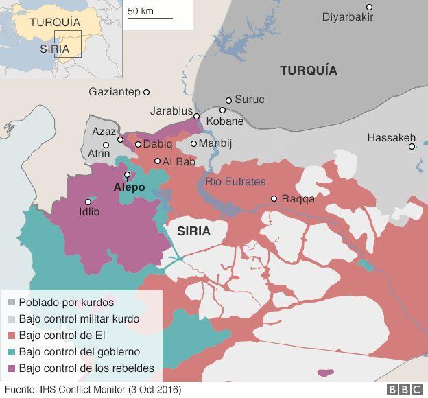 Mapa de territorios bajo control de EI
