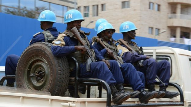 UN peacekeepers in Bangui. 3 Oct 2014