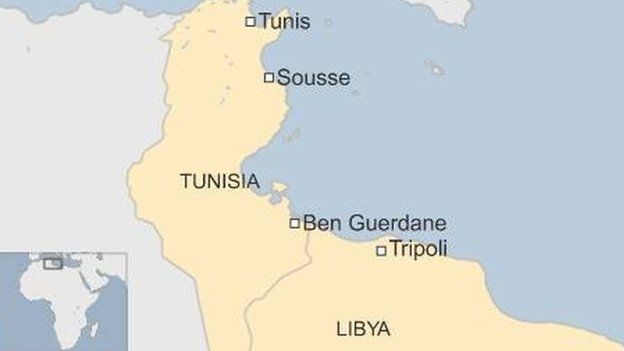 Libya-Tunisia map