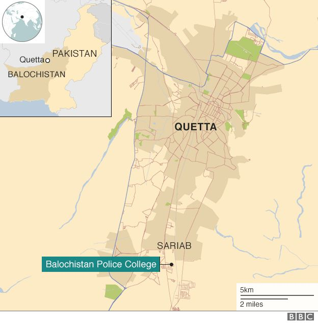 Map showing the location of the police training college in Quetta