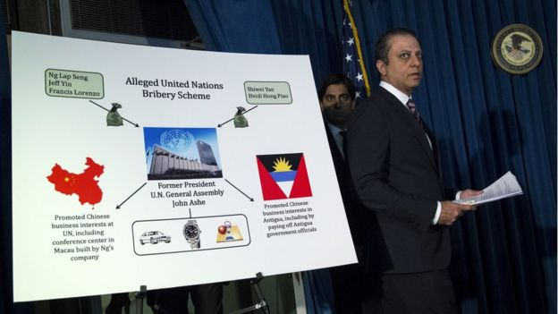 United States Attorney Preet Bharara arrives to address a news conference