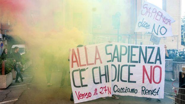 Protesto estudantil em Roma