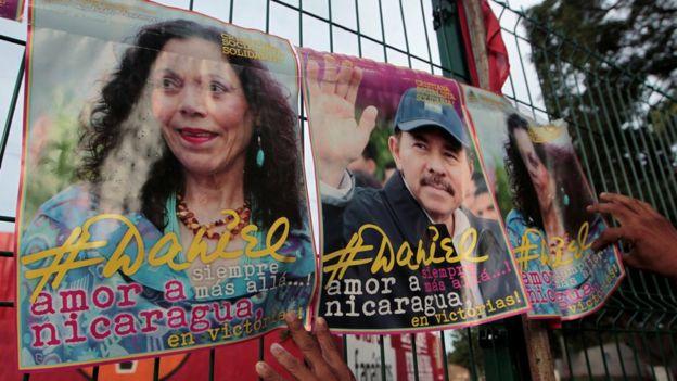 Carteles de propaganda de Rosario Murillo y Daniel Ortega