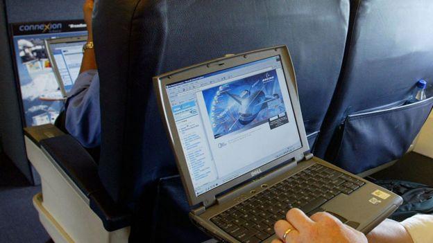 Latop user on a flight