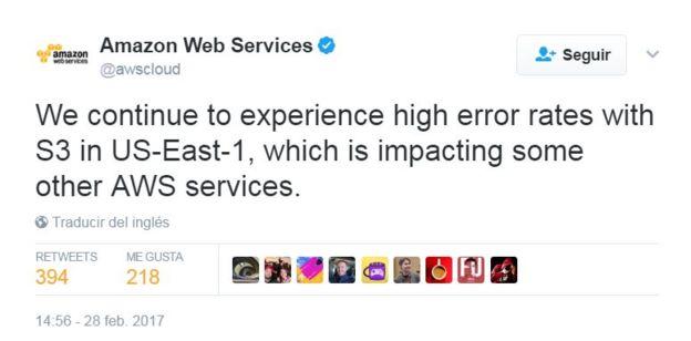 Tuit de Amazon Web Services