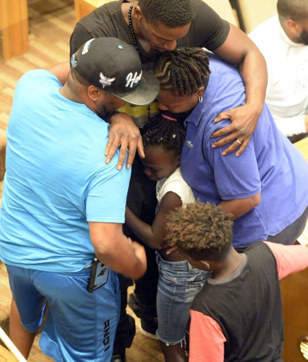 Zianna was comforted by family members after her speech
