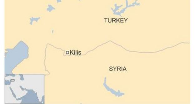 Map of Turkey and Syria showing key Kurdish towns