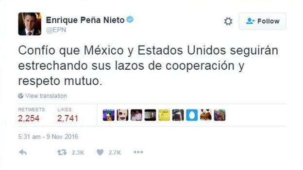 Enrique Pena Nieto tweet