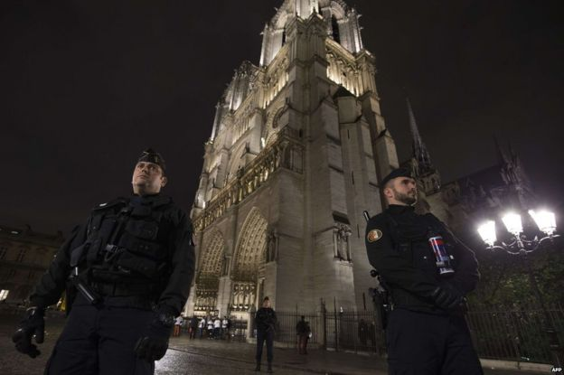 Police outside Notre Dame cathedral in Paris, 19 November
