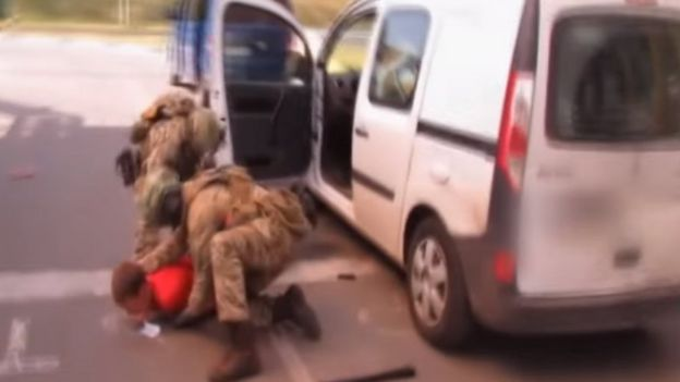 An SBU video showed the moment of arrest on the border with Poland