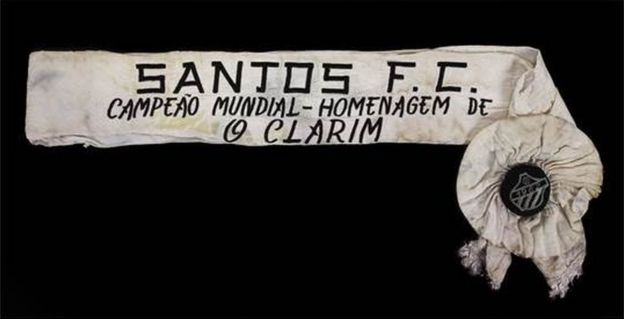 A sash awarded to Pele for winning the 1962 World Club Championship with Santos