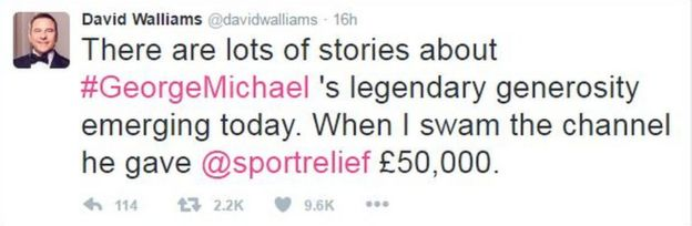 In a string of tweets celebrating Michael's music and humour, comedian and author David Walliams tweeted that the star had supported his 2006 cross-Channel swim to the tune of £50,000.
