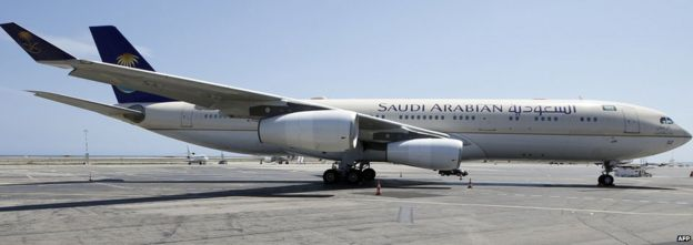 A Saudi Airlines plane sits on the tarmac at Nice airport in south eastern France on 26 July