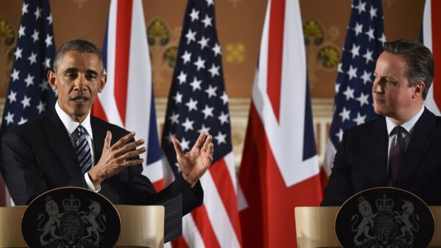 President Barack Obama with Prime Minister David Cameron in London in April 2016