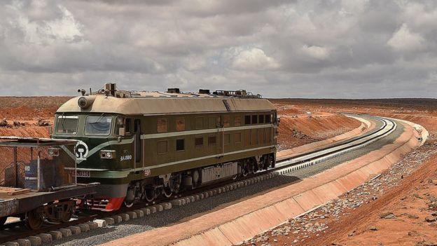 May 5, 2015 shows work in progress on the new railway tracks linking Djibouti with Addis Ababa.