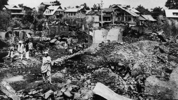 File photo: A Kashmiri village destroyed by Pakistani infiltrators, 9 September 1965