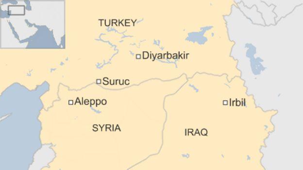Map showing Turkey, Syria, Iraq