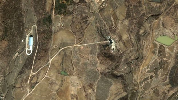 This satellite image released by DigitalGlobe shows the Musudan-ri launch pad, centre right, and assembly building, left, in blue, in at the North Korean missile facility at Musudan-Ri, in southern North Hamgyong Province, North Korea on Sunday 29 March 2009.