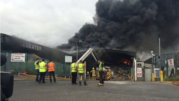 A fire is blazing at a west Belfast business