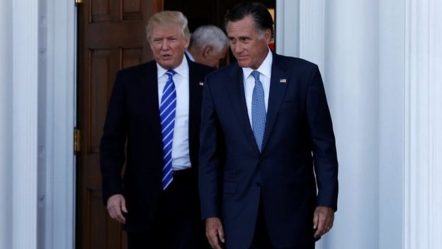 Donald Trump and former Massachusetts Governor Mitt Romney emerge after their meeting in New Jersey.