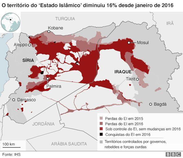 Mapa mostra perda de território do Estado Islâmico