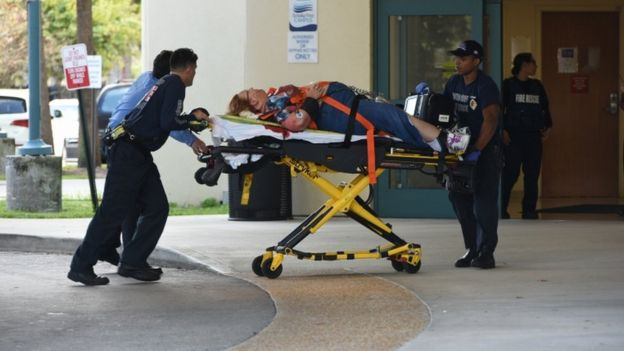 A shooting victim arrives at the Broward Health Trauma Center