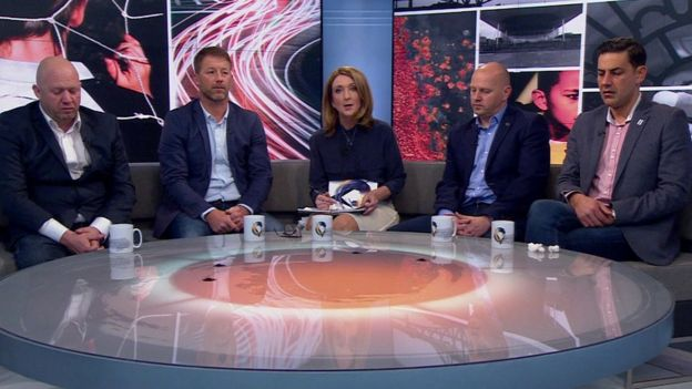 Left to right: Jason Dunford, Steve Walters, Victoria Derbyshire, Chris Unsworth, Andy Woodward