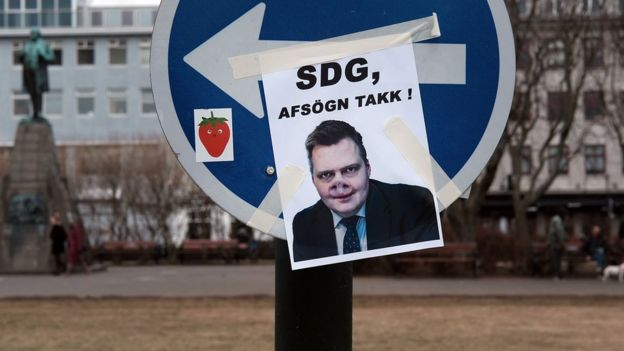 A picture mimicking former Icelandic Prime Minister Sigmundur David Gunnlaugsson