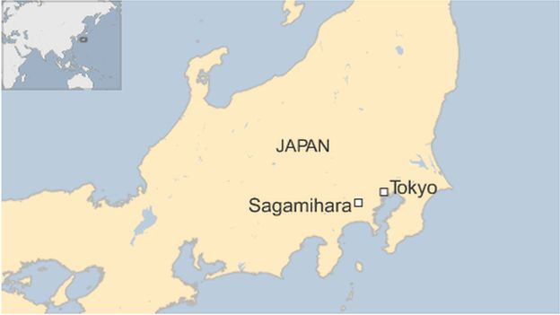 A map showing Sagamihara, Japan